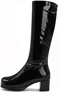 Vrouwen Kalfs Laarzen, Lakleer Platte Hoge Laarzen, Ronde Neus Dikke Hak Mode Sexy Damesschoenen,Black,31