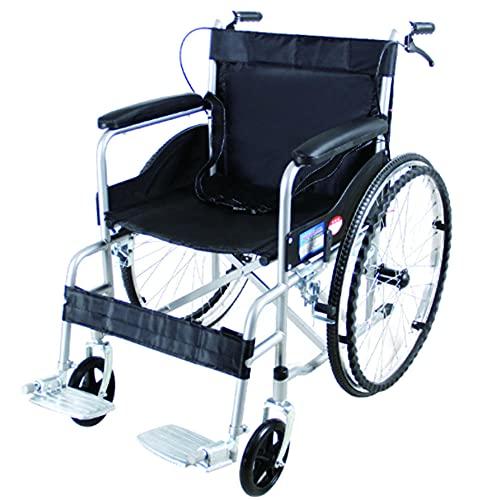 Carrozzina MMYNL, pieghevole, leggera, anziani, portatori di handicap, lega di alluminio, facile da trasportare, trasporto, pedali, braccioli, freni, deambulatore semovente, comoda e robusta-Nero