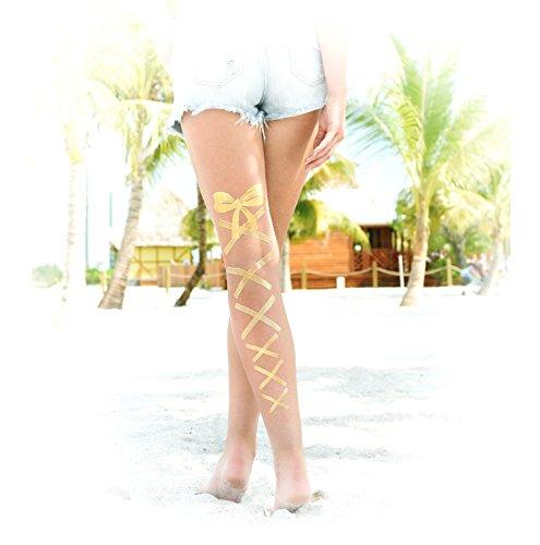 Tattoocrew® 2 x Schleife Tattoo XXL Strapse Gold Metallic