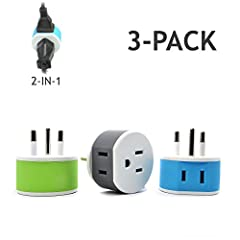 Outlet adapter Type O Plug - works in countries such as Thailand 2 inputs - This adapter accepts the standard USA n. American 2 or 3 prong flat pin Plug (including polarized) in the back and American 2 prong on the bottom. Perfect for travel size - v...