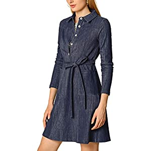 Women's Half Placket Long Sleeve Casual Shirt Dress with Belt