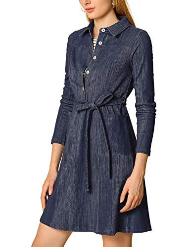 Allegra K Women's Half Placket Long Sleeve Casual Shirt Dress with Belt S Dark Blue
