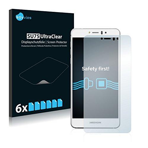 Savvies 6X Schutzfolie kompatibel mit Medion Life X5004 (MD 99238) Bildschirmschutz-Folie Ultra-transparent