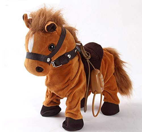Haktoys Updated Remote-Controlled, Dancing, Singing and Walking Pony Pet | Wired Walk Along Brown Horse Musical Toy with Leash | Now with 9 Different Child-Friendly Songs, Realistic Design and Sounds