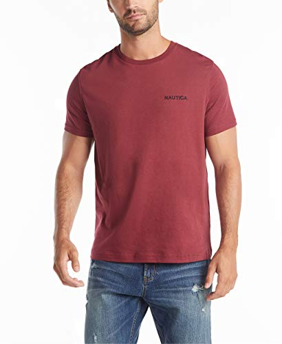 Nautica Men's Short Sleeve Solid Crew Neck T-Shirt, Barolo, Large
