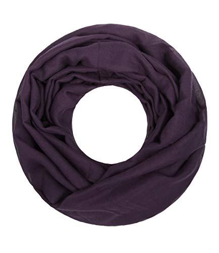 Majea Loop Cary Basic Schal Tuch Damen-schal Schlauchschal Rundschal Halstücher uni unifarben Loopschal einfarbig, Lila, 170x80