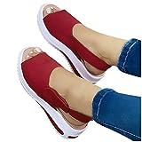 Winging Sandalias Talón Pendiente Señoras Ocio Boca De Pescado Playa Al Aire Libre Suela Gruesa Deportivas Moda De Mujer Casual Peep Toe Plataformas Cuñas Sandalias De Playa Zapatos Deportivos