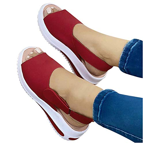 Aniywn Womens Adjustable Buckle Peep Toe Slingback Platform Wedge Sandals Casual Comfortable Beach Sandals Walking Shoes Red