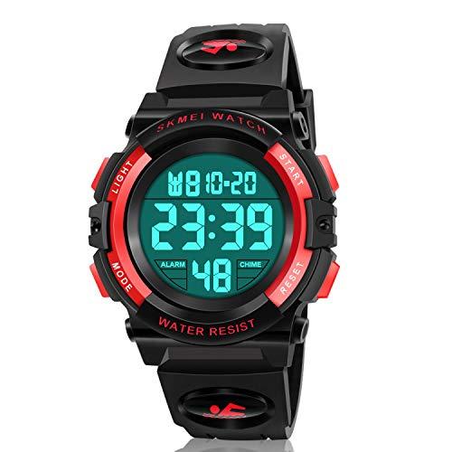Atimo Digital-Armbanduhr, multifunktional, wasserdicht, für den Sport, mit Alarm, Stoppuhr, ideales Geschenk für Kinder und Jugendliche, Rot 2