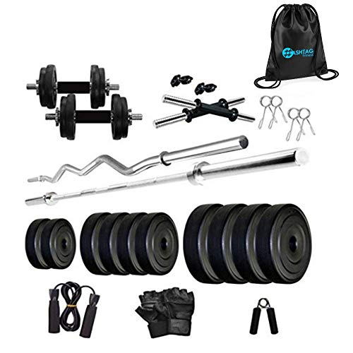 HASHTAG FITNESS Leather 30kg, Gym Equipments Set for Home & Home Gyms, Black