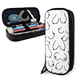 PiGebaobao Boobs The Breast Leather Pencil Case with Zipper,8 X 3.5 X 1.5 Inch Microfiber PU Leather Stationery Art Supplies College Office Pencil Holder Pen Case Pouch Unisex