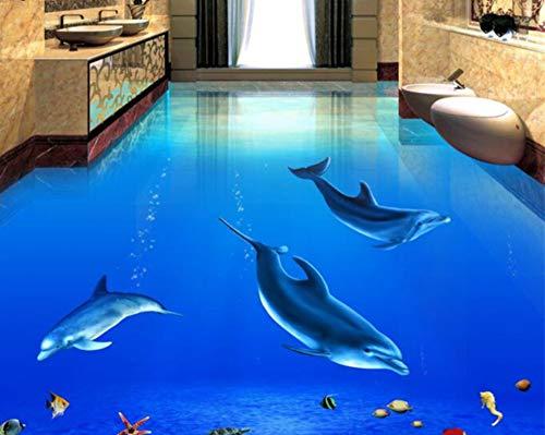 Mbwlkj Wasserdichte Selbstklebende Tapete 3D Schöne Dolphin Unterwasserwelt 3D Pvc Badezimmerbodenfliesen Bodenbilder-300cmx210cm