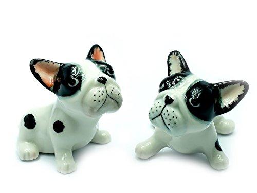 Grandroomchic Animal Miniature Handmade Porcelain Statue 2 French Bulldog Dog Figurine Collectibles Gift