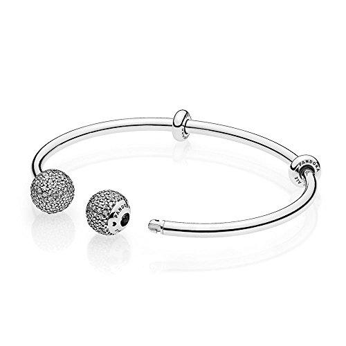 PANDORA Moments silver öppet armband med stenade kepsar 596438CZ 19cm