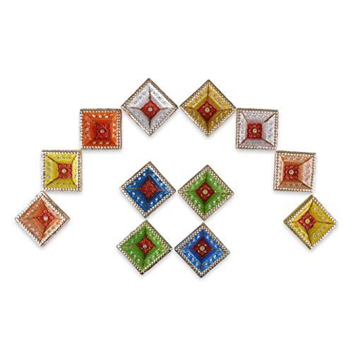 Tuelip Diya für Weihnachtsdekorationen, handgefertigt, traditionelles Terrakotta-Ton, Diya Diwali, erdige Öllampe, indische Geschenkartikel, Durchmesser mehrfarbig, 12 Stück