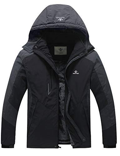 WenVen Men's Winter Waterproof Windbreaker Fannel Lined Coat (Black, 2XL)