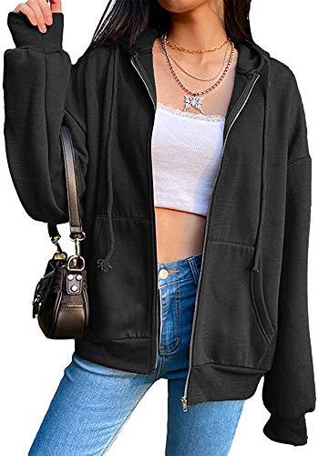 Women's Hooded Sweatshirts Casual Long Sleeve Oversized Hoodies Zip Up Jackets with Pockets Black