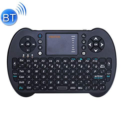 GASHHE S501 Bluetooth Mini Full QWERTY-Tastatur mit Touchpad und Multimedia-Steuerung for Laptop, Desktop-Computer, Fernseher, STB (Schwarz) (Farbe : Black)