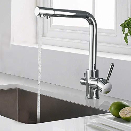 BONADE Grifo de cocina de 3 vías, giratorio 360°, grifo mezclador 3 en 1 para filtro de agua, grifo de fregadero de latón cromado, grifo de agua potable con 2 palancas para fregadero de cocina