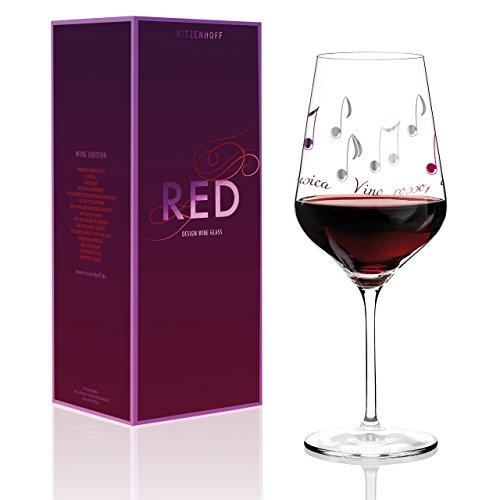 RITZENHOFF Copa de vino tinto (cristal, 9,4 cm), color rojo