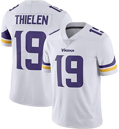 ZQN Herren Kurzarm T-Shirt, NFL Uniform Minnesota Vikings # 19 Adam Thielen Trikots, American Football Sweatshirt, Fans Trainings Tops Sport,Weiß,XXL