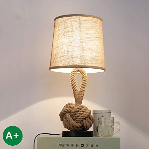Lampara de mesa retro de cuerda de canamo, Lampara de escritorio de mesa de noche industrial Twine Vintage, Pantalla redonda de lino hecha a mano, E27 Luz de lectura para sala de estar, dormitorio