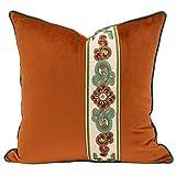 HOUMEL Cubiertas de Cojines Decorativos de Estilo clásico Cubiertos de Costura de Naranja Cajas de Almohadas Florales con Relleno para Sala de Estar sofá sofá 45 cm x 45 cm 18 x 18 Pulgadas 452