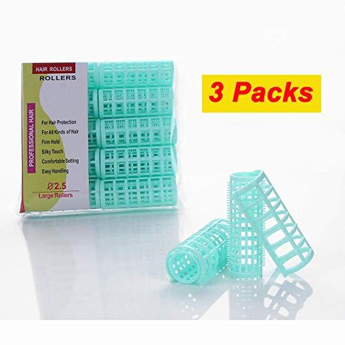 Piero 3 Packs Dents Cheveux Rouleaux Coiffeur Coiffeur Cheveux Bigoudis avec Pinces Magic Rollers Air Bang Bigoudi, Diamètre 25mm