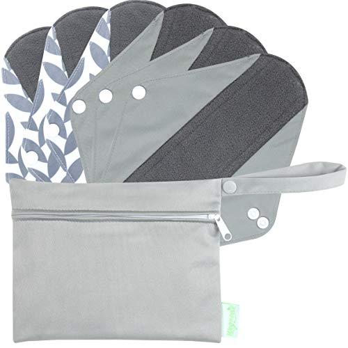 Wegreeco Bamboo Reusable Sanitary Pads (Stylish Pattern) - Cloth Sanitary Pads | Light Incontinence Pads | Reusable Menstrual Pads - 6 Pack Pads, 1 Cloth Mini Wet Bag Bonus (Medium, Luxury)