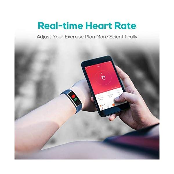 CHEREEKI Pulsera Actividad, Pulsera de Actividad con Monitor Ritmo Cardíaco Medición de la presión Arterial IP68… 2