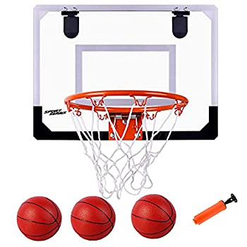 THYG Indoor Mini Basketball Hoop Set for Kids with 3 Balls 15.7x11.8 Inches Bedroom Basketball Hoop for Door & Wall with Complete Accessories Basketball Toy Gifts for Kids/Boys/Girls/Teens/Adult