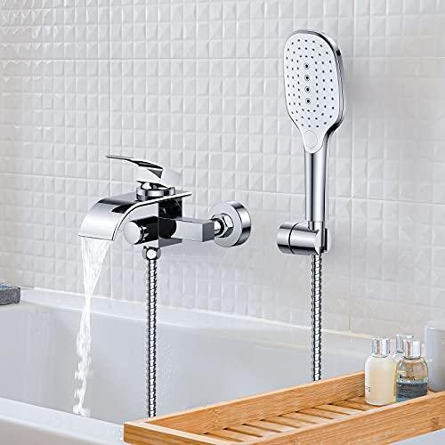 Synlyn Badewannenarmatur Wasserfall Wannenarmatur mit 3 Funktionen Handbrause Wasserhahn Badewanne Wannenbatterie aus Messing Badarmatur Druckschalter Mischbatterie für Dusche Bad