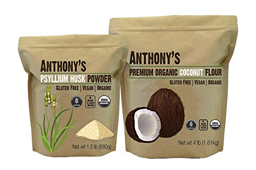 Anthony's Organic Coconut Flour 4lb & Organic Psyllium Husk Powder 1.5lb Bundle