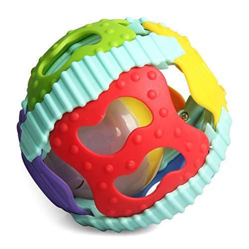 Brain Game WOQOOK Kunststoff 2 in 1 helle Farben Soft Musical Gummi Fitness Ball Spielzeug mit Sound und Licht, bunt