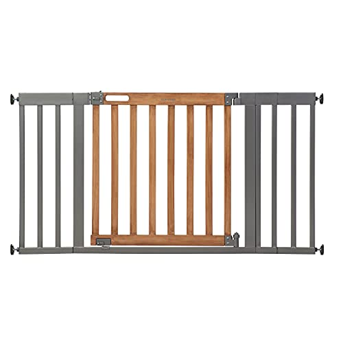 """Summer West End Safety Baby Gate, Honey Oak Stained Wood with Slate Metal Frame – 30"""" Tall, Fits Openings up to 36"""" to 60"""" Wide, Baby and Pet Gate for Wide Spaces and Open Floor Plans"""