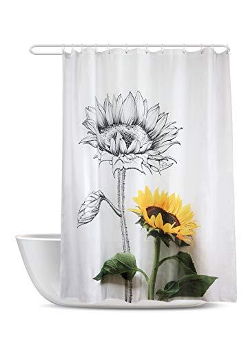 SUMGAR Blumen-Duschvorhang gelb schwarz Blumenmuster Badezimmervorhänge Sonnenblumen Badvorhänge Polyesterstoff wasserdicht schimmelresistent mit 12 weißen Vorhangringen 180x180cm