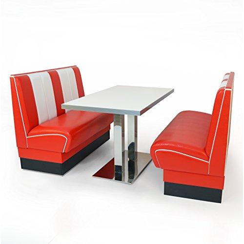 American Diner Set Viber 2x Sitzbank 120cm + Diner Tisch