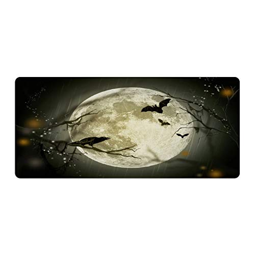 Full Moon and Halloween-Crow Crys Silhouette Desktop and Laptop Mouse pad 1 Pack 800x400x3mm/31.5x15.7x1.1 in