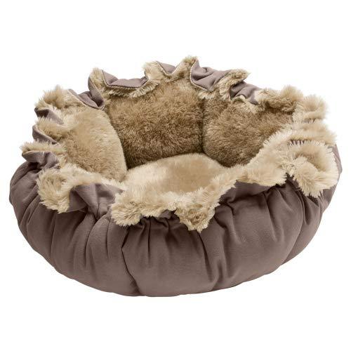 HUNTER TILBURG Hundebett, Hundedecke, variabel, Plüschbesatz, mit Kordel, braun