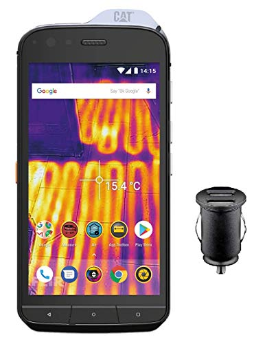Caterpillar Cat S61 Smartphone (13,21 cm (5.2 Zoll) FHD IPS Display, 64 GB interner Speicher und 4 GB RAM, Dual-SIM, Android 8.0) Schwarz - FLIR Wärmebildkamera inkl. 12V KFZ Adapter