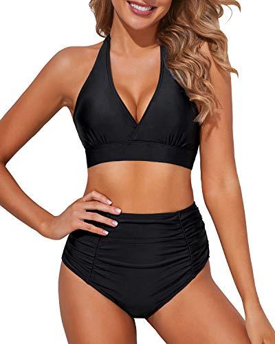 Tempt Me Women Black High Waisted Bikini Halter V Neck Two Piece Push Up Retro Swimsuits L