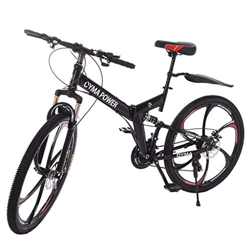 VBBV 21 Speed Bicycle Full Suspension MTB Bikes,Trek Mountain Bike,Anti-Slip Bikes Folding Mountain Bike,Adult and Youth Mountain Bike,Mountain Bike for Men/Women,26 Inch Mountain Bike,