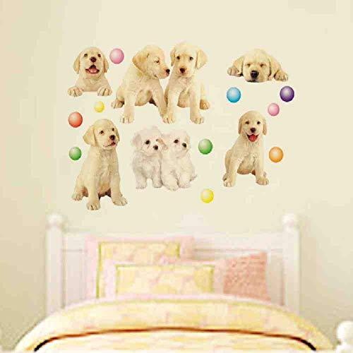 JPDP Cartoon Hond 3D Muurstickers Ontwikkelingscentrum voor Kleuterschool Kinderen Kamer Muurstickers Huisdier winkel Puppies Ballonnen