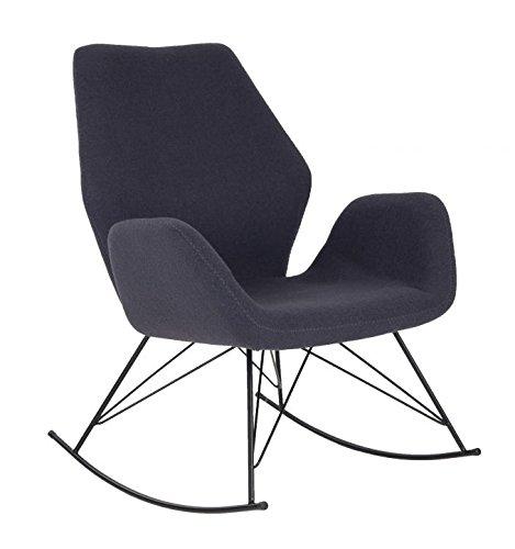 SalesFever® Stilvoller Schaukelstuhl Lola, in Dunkelgrau, Designer-Stuhl mit Stoffbezug, gepolstert, Retro-Look, sesselförmiger Sitz, bequemer Sitzkomfort