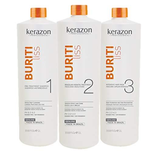 Brazilian Keratin Treatment 34fl.oz/1L Tratamiento de Keratina Brasilera Importada KIT w/pumps Buriti Liss by KERAZON