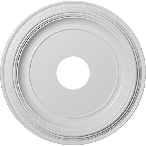 "Ekena Millwork CMP16TR Traditional Thermoformed PVC Ceiling Medallion, 16""OD x 3 1/2""ID x 1 3/8""P (Fits Canopies up to 9 1/2""), White"