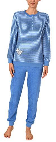 Damen Frottee Pyjama Schlafanzug mit Bündchen, Knopfleiste und süßer Tier Applikation - 112, Farbe:hellblau, Größe2:44/46