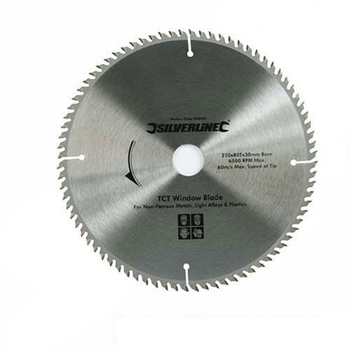 Silverline 598444 TCT UPVC Window Blade 80T, 250 x 30 - 25, 20, 16 mm rings