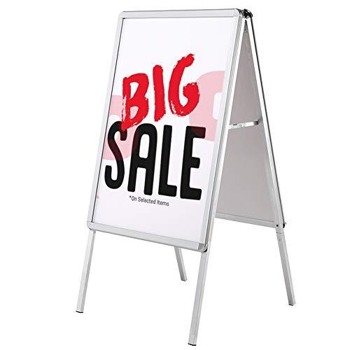 Bakaji Espositore Pubblicitario Cavalletto Bifacciale Pieghevole in Alluminio Pannello Stand Pubblicita da Terra Doppia Cornice per Poster Formato A1 Dimensione 51 x 65,5 x 121 cm