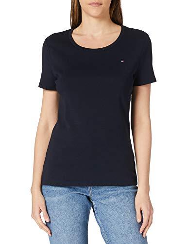 Tommy Hilfiger Slim Round-NK Top SS Camiseta sin Mangas para bebés y niños pequeños, Cielo del Desierto, L para Mujer